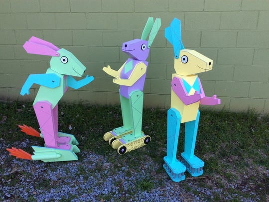 """Kent Cooper's latest design for the bunny display at Phillips Toy Mart  features robot rabbits know as """"Bun e-bots."""""""