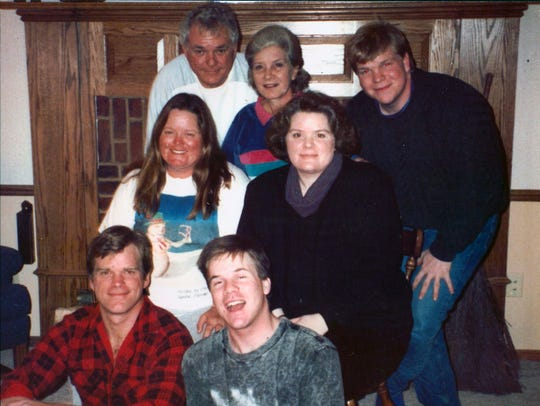 "The Schandelmeier family in north Milwaukee in 1990. Back row: parents Milo and Marilyn, and son Jon; center: daughters Debbie and Laura; foreground: William (""Chip"") and Kirk."