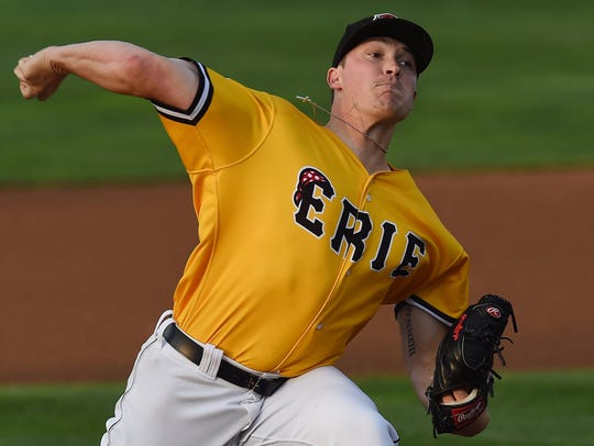 Erie SeaWolves pitcher Beau Burrows delivers a pitch