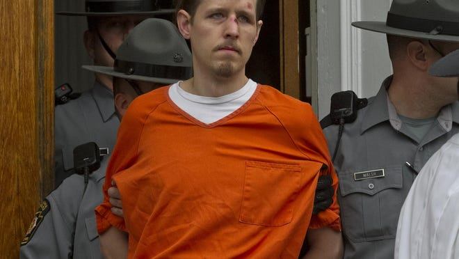 Eric Frein, shown after his arrest on Oct 31, 2014, is charged with murdering Pennsylvania State Trooper Cpl. Byron Dickson and critically wounding Trooper Alex Douglass. Jury selection begins this week.