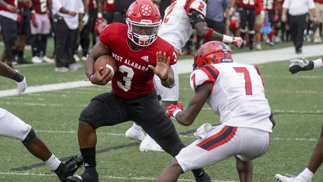 West Alabama running back Derrick Underwood (3) carries the ball for a touchdown during the NCAA Division II football game between the West Alabama Tigers and the North Greenville Crusaders at Tiger Stadium in Livingston, Ala. on Saturday, Oct. 5, 2019.