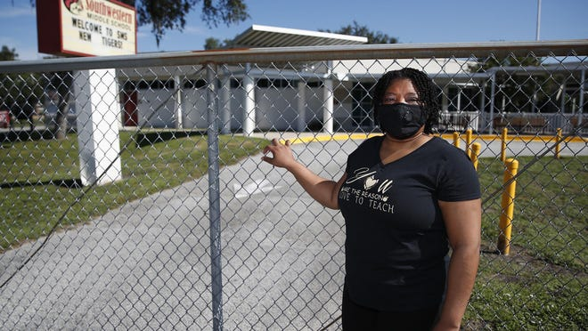Southwestern Middle School teacher Michelle Maclin outside the campus in DeLand, Saturday, August 8, 2020.