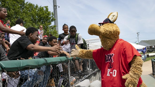 Brockton Rox mascot K-O the Kangaroo high-fives Brockton School students on a field trip to the game at Campanelli Stadium on Wendesday June 12, 2019.