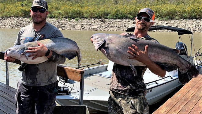 Samuel Kracht, of Blue Rapids, and Mackenzie Delrosso, of Randolph, teamed up for a 117-pound bag, including the big fish at 43.18 pounds, to win the King Kat event on Tuttle Creek last weekend.