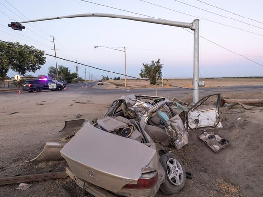 CHP officers investigate damage on Road 68 at Avenue