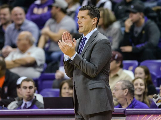 Northern Iowa basketball coach Ben Jacobson reacts