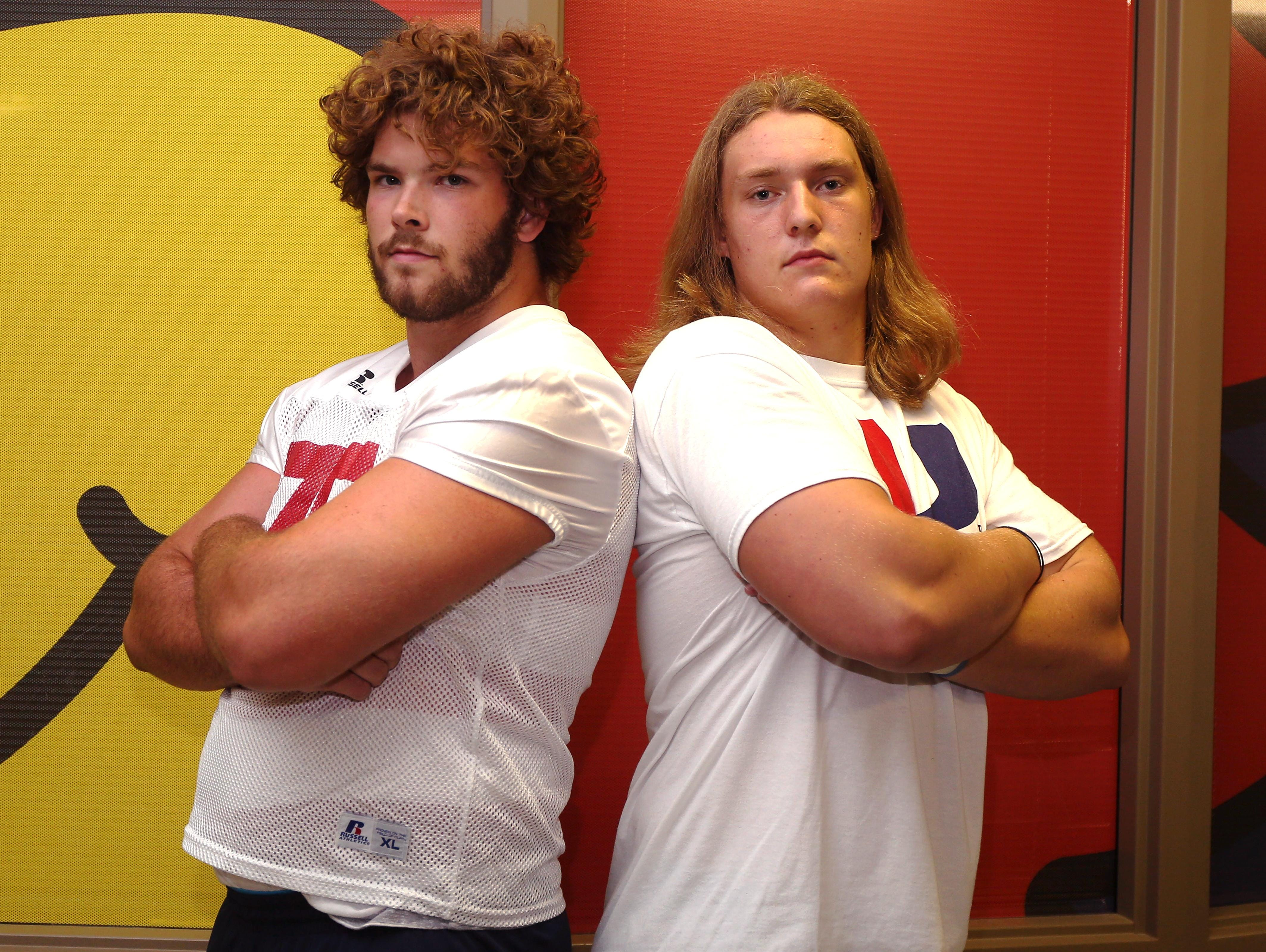 Urbandale offensive linemen Jake Heinrich, left, and Caleb Bright are considered two of the best linemen in the state of Iowa. Both of the seniors have already committed to Division I colleges.
