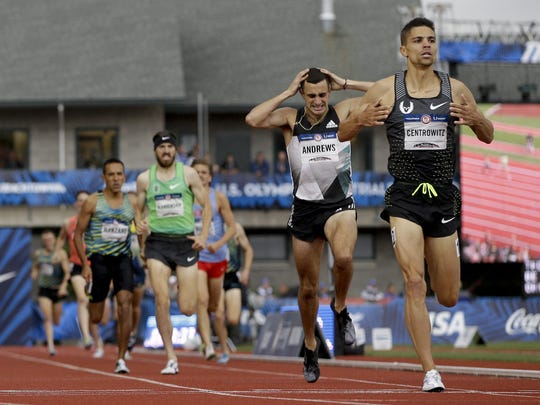 Robby Andrews (middle, with hands on head) finishes second in the 1500 meters at the Olympic Trials.