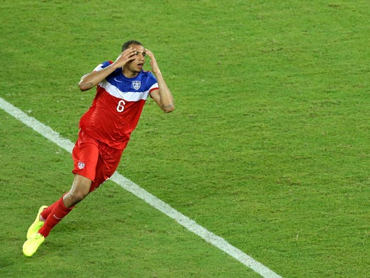 United States' John Brooks celebrates scoring his side's second goal during the group G World Cup soccer match between Ghana and the United States at the Arena das Dunas in Natal, Brazil, Monday, June 16, 2014. The United States defeated Ghana 2-1.