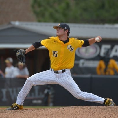 Southern Miss pitcher Stevie Powers delivers to the