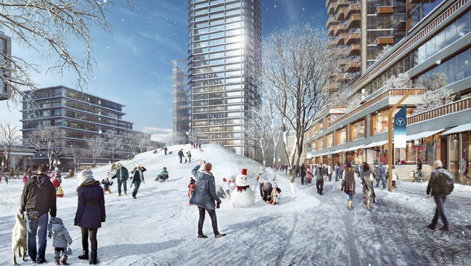 An artist's rendering of a possible development at the Lincoln Yards in Chicago, which has been proposed as a home for Amazon's second headquarters. Residents will enjoy a sledding hill and community focused events in the winter.