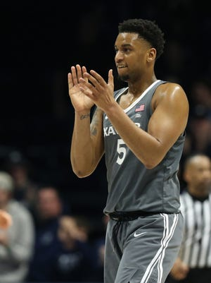 Xavier Musketeers guard Trevon Bluiett (5) claps as he walks to the bench during a timeout in the second half during the college basketball game between the Xavier Musketeers and the DePaul Blue Demons, Saturday, Dec. 30, 2017, Cintas Center in Cincinnati.