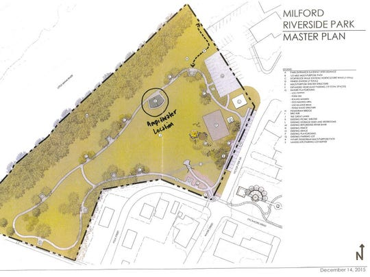 Milford Riverside Park Master Plan includes a multi purpose building that will serve as an amphitheater.