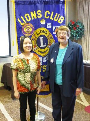 Gettysburg Lion, Shirley Carlson, right, welcomes Beth Smoligo to the Lions Club meeting.
