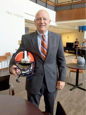 Gettysburg College football coach Barry Streeter poses at Centennial Conference media day at Franklin & Marshall  in 2015.