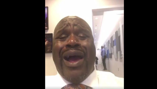 Shaquille O'Neal lip-syncs to a Beyonce song on his Instagram account.