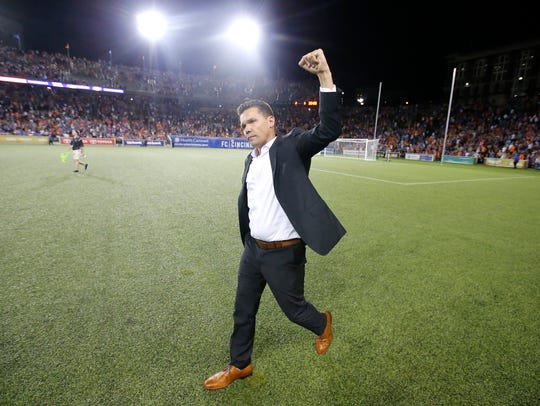 FC Cincinnati head coach Alan Koch celebrates the win