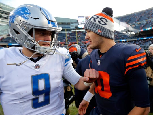 Lions quarterback Matthew Stafford and Bears quarterback