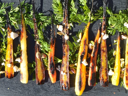 Carrots and other root vegetables are caramelized and