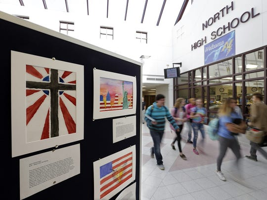 Artwork created by students for Veterans Day is on display in the hallways of Appleton North High School.