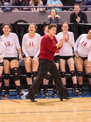 St. Philip's coach Vicky Groat fires up her team during the MHSAA Class D semifinals against Waterford Our Lady.