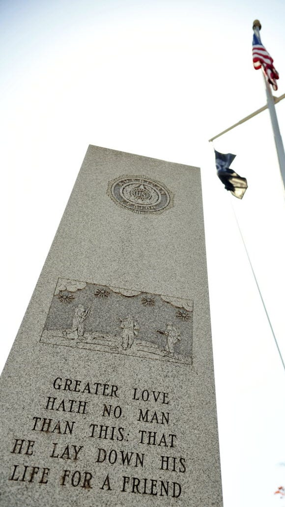 This monument stands near Veterans Memorial Bridge in Wrightsville.