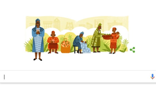 Google's logo honors Esther Afua Ocloo, a pioneer of 'microlending.'