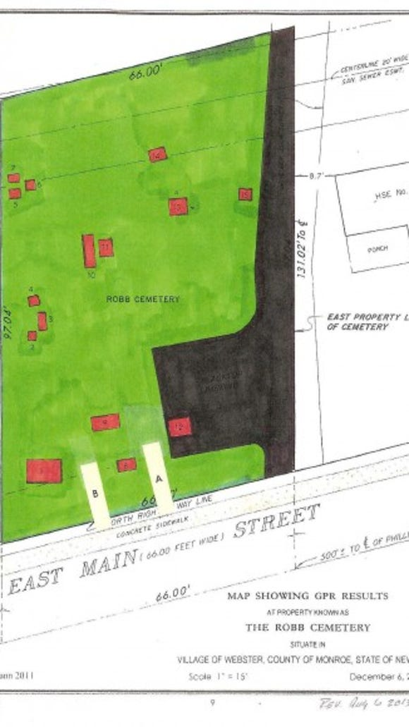 "In 2011, ground-penetrating radar was used to create this map of Robb Cemetery. The red rectangles represent ""disturbances"" which are believed to be gravesites."