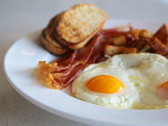 Free range eggs from Gonestraw Farms are served with breakfast menu items, August 9, 2017.