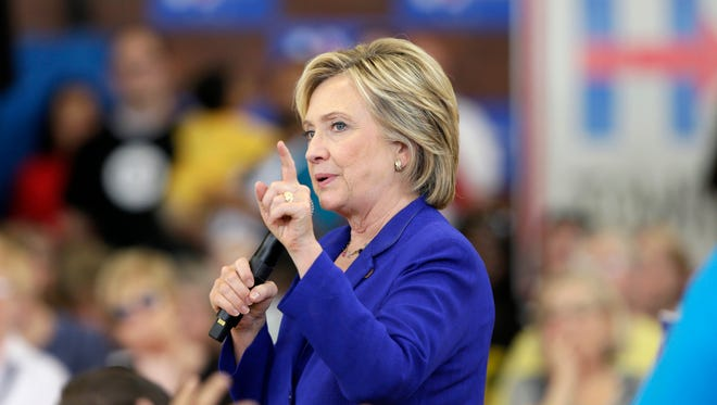 Hillary Clinton campaigns in Des Moines, Iowa, on Sept. 22, 2015.
