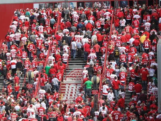 Red Wings fans enter the last game at Joe  Louis Arena