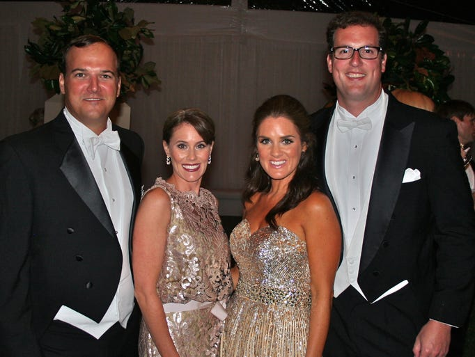 Matthew Musser, left, Swan Ball 2013 Late Party co-chairs Whitney Musser and Karly Hart and Clay Hart at The Swan Ball 2013 Late Party, a benefit for Cheekwood Botanical Garden and Museum of Art, held at Botanic Hall at Cheekwood.