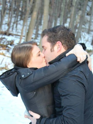 Hannah Miller and Adam Kessler after he popped the question in Mendon Ponds Park.
