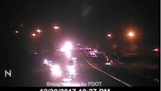 Southbound lanes of I-95, near Fellsmere Road in Indian River County remain blocked at 10:13 p.m. Saturday.