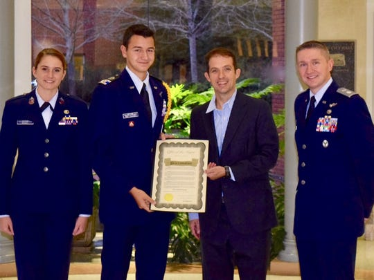 Murfreesboro Mayor Shane McFarland recently marked the 75th anniversary of the Civil Air Patrol with a special proclamation that honored the service of the volunteer civilian auxiliary of the U.S. Air Force. McFarland proclaimed Dec. 1 as Civil Air Patrol Day in the city and met with Lt. Col Brian Hughes, commander of the city's squadron, along with Cadet Chief Master Sgt. Kimberlee Russell and Cadet Lt. Col. Jonah Torp-Pedersen to mark the occasion.