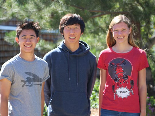 From left to right, Justin Wong, Chanha Kim and Genevieve Roeder-Hensley.