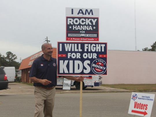 Leon schools superintendent Rocky Hanna greets voters on Election Day, Nov. 8, 2016.