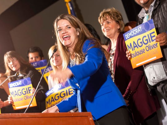 Maggie Toulouse Oliver, Secretary of State-elect, gives her acceptance speech at the New Mexico Democratic Party election night party Tuesday, Nov. 8, 2016 in Albuquerque, N.M.