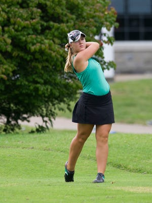 Hadley Walts of North hits her ball toward the green during the girls golf sectional at Fendrich Golf Course on Saturday afternoon.
