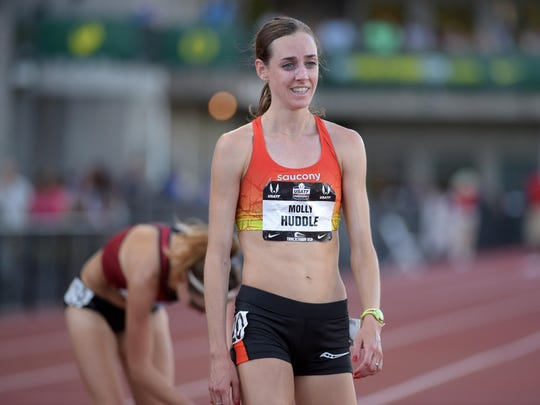 FILE --  Molly Huddle reacts after winning the womens 10,000m in 31:39.20  in the 2015 USA Championships at  Hayward Field. Mandatory Credit: Kirby Lee-USA TODAY Sports