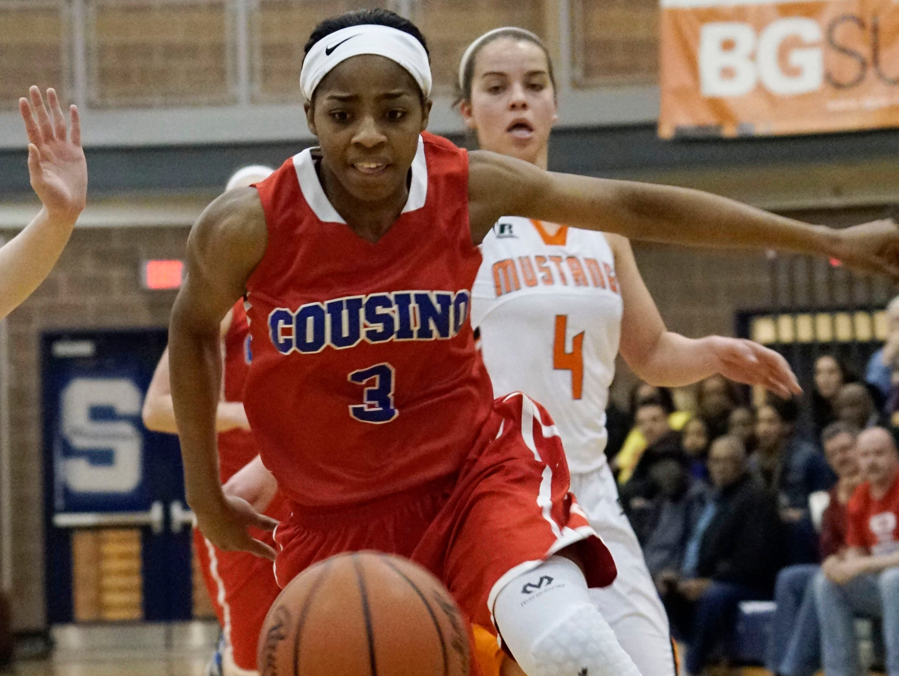 Warren Cousino's Kierra Fletcher (3/G) chases down a loose ball during the Girls' Basketball Quarter Finals on Tuesday, Mar. 15, 2016 at Southfield High School in Southfield.