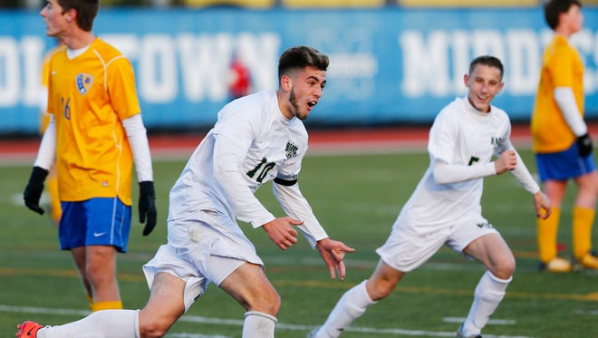 Vestal's Parker McKnight celebrates his first of three goals during Sunday's Class A state final versus Queensbury at Middletown on November 12, 2017.