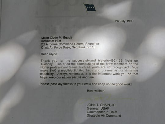 Retired Lt. Colonel Clyde Eggett received this letter