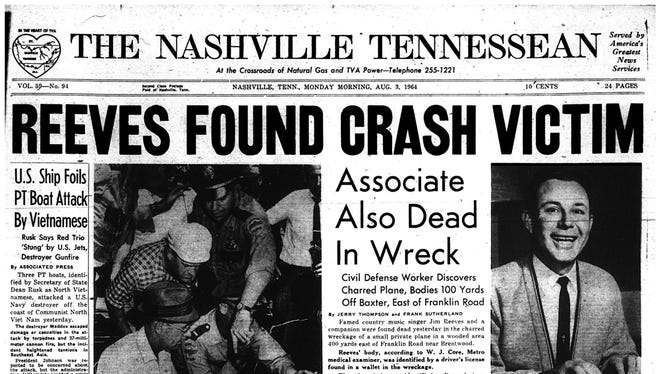 The Tennessean front page after country star Jim Reeves' body was found. Reeves died in a plane crash 50 years ago.