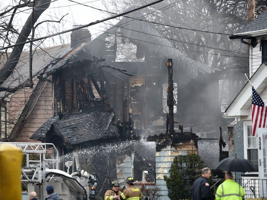 A body was recovered after an early-morning fire destroyed the home of an elderly couple at 130 Sherman Ave. in Teaneck on Sunday, January 28, 2018.