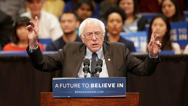 Democratic presidential candidate Bernie Sanders speaks during Tuesday's town hall gathering at the Fox Cities Performing Arts Center in downtown Appleton.