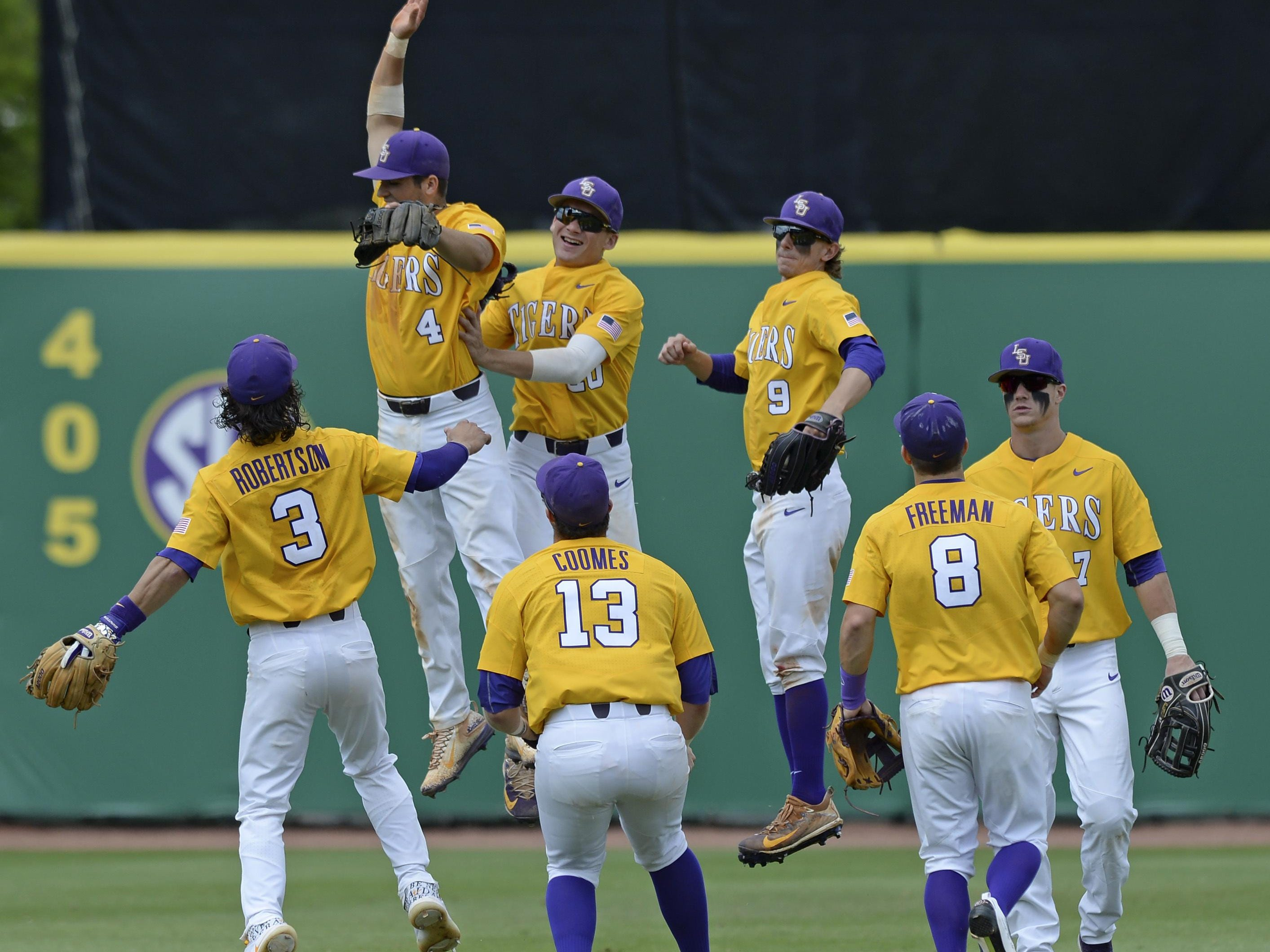 LSU celebrates a 9-1 win over Auburn on Saturday that finished a three-game series sweep. Auburn has lost six straight SEC games.
