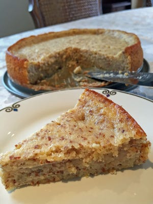 Sticky lemon cake can be made with almond flour or almond meal.