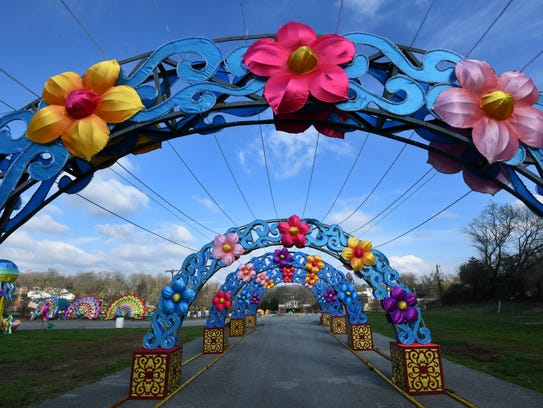 One of several walkthrough exhibits at the new Chinese lantern festival at the Chilhowee Park Midway area Tuesday, March 13, 2018. The new festival will begin Friday.