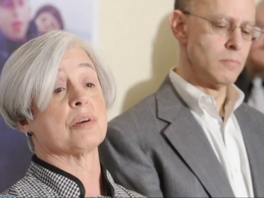 "In this file photo, Sue Witman, Zach Witman's mother, speaks at a news conference at the Yorktowne Hotel on March 27, 2013. She said of her son's release from prison: ""I'm the happiest that I've been in 21 years."""